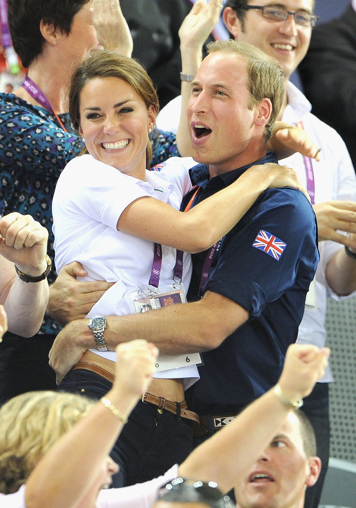 Prince William and Kate Middleton jumped for joy during an emotional day of watching Olympic cycling.