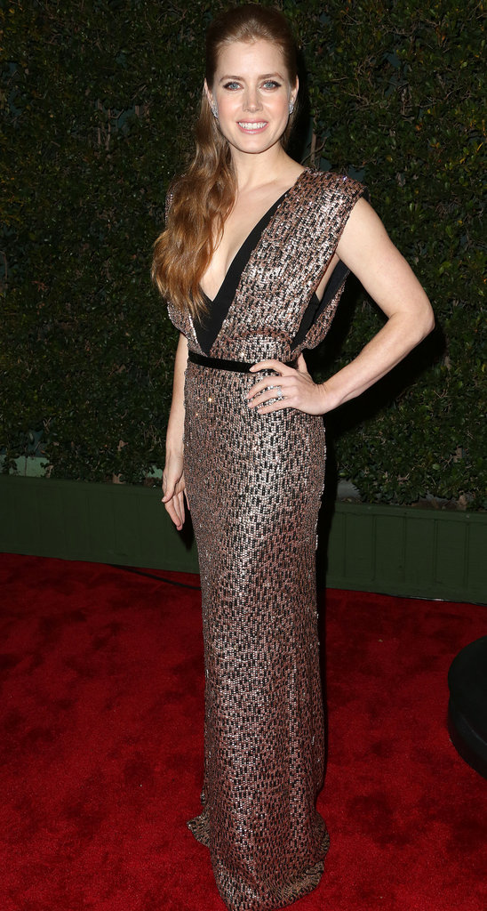 Embrace full-on glitz and glamour with a sequined maxi dress à la Amy Adams's glittering Jenny Packham gown.