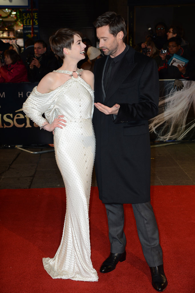 Anne Wears Dramatic White For Les Mis's World Premiere With Hugh, Amanda, and Isla