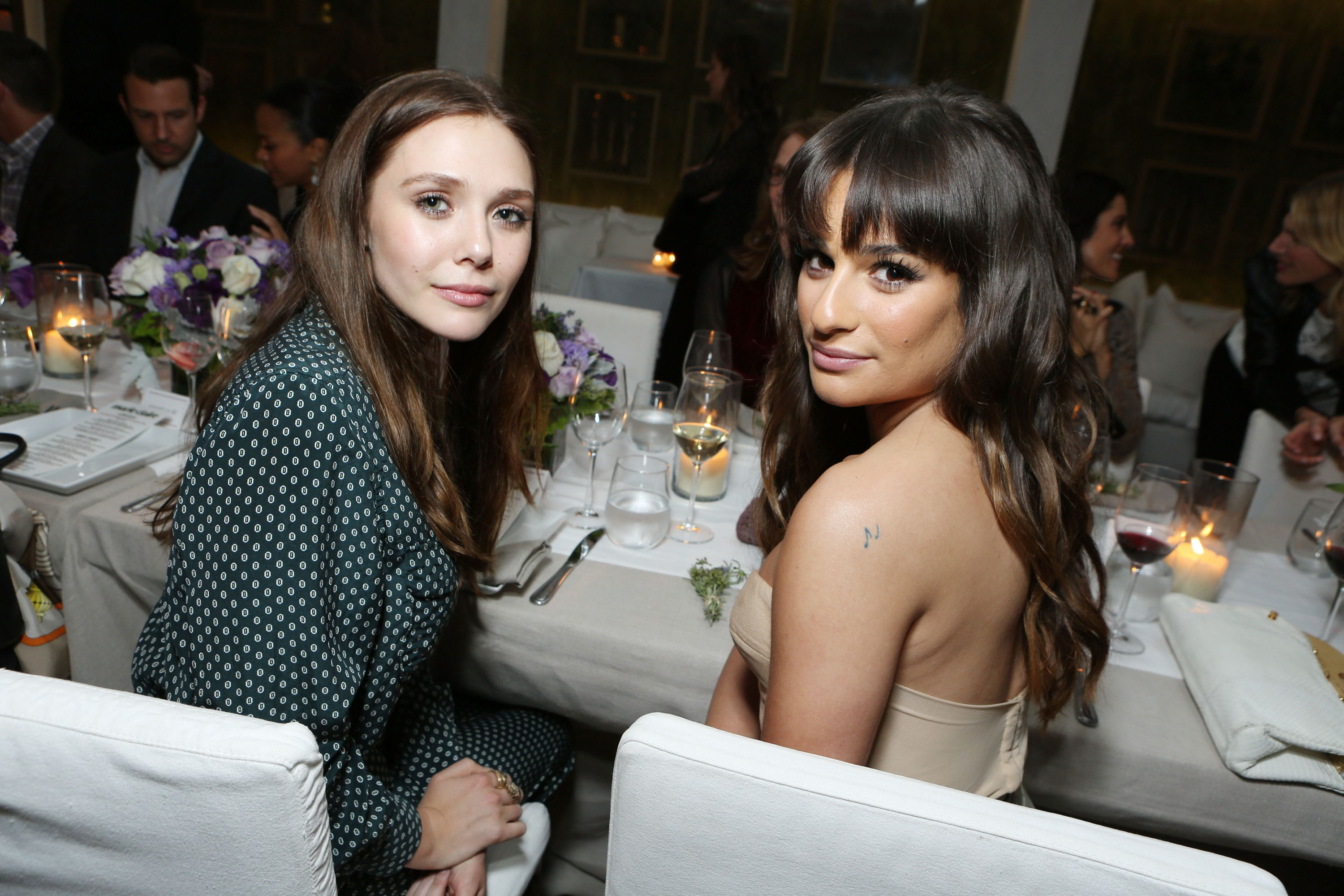 Elizabeth Olsen and Lea Michele stepped out in LA for theMarie Claire Hollywood Dinner.