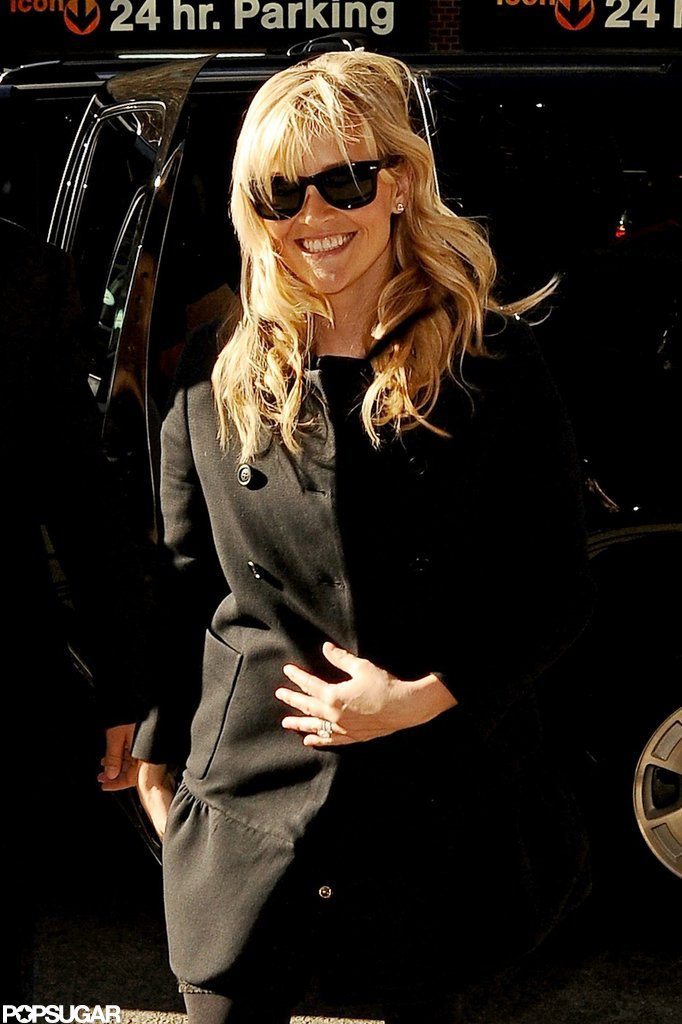 Reese Witherspoon flashed her engagement ring in NYC in December 2012.