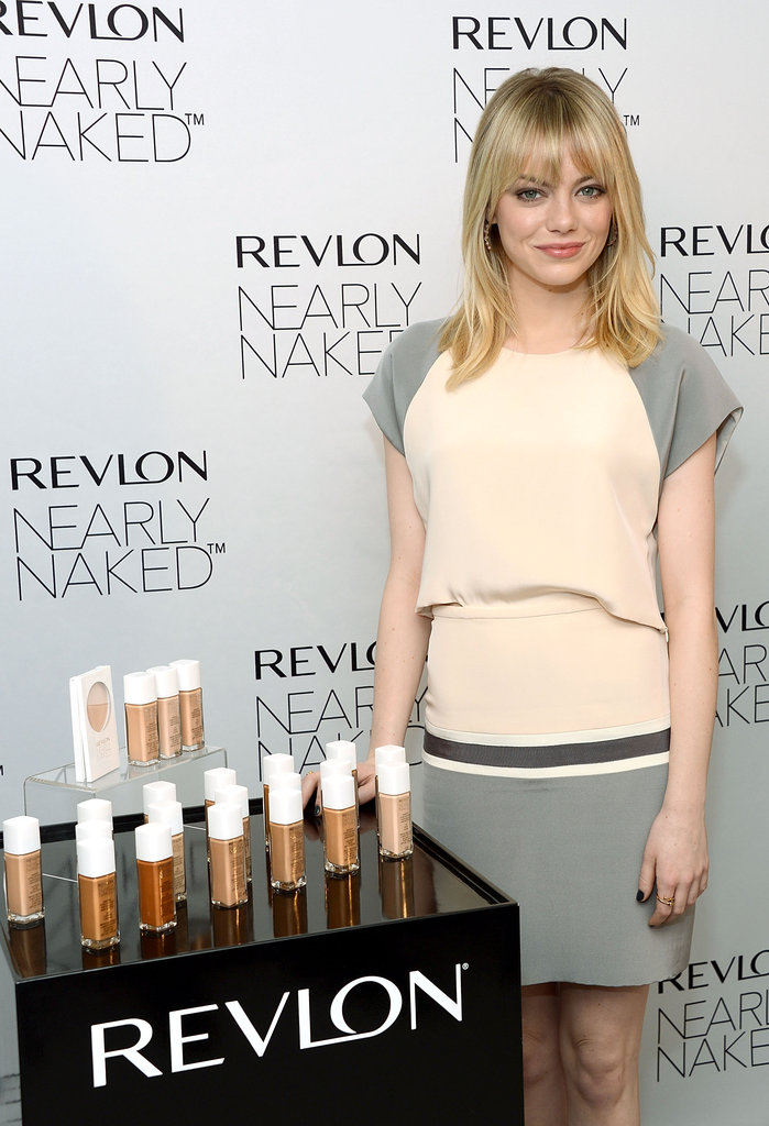 Emma Stone showed off Revlon's new Nearly Naked makeup in NYC.