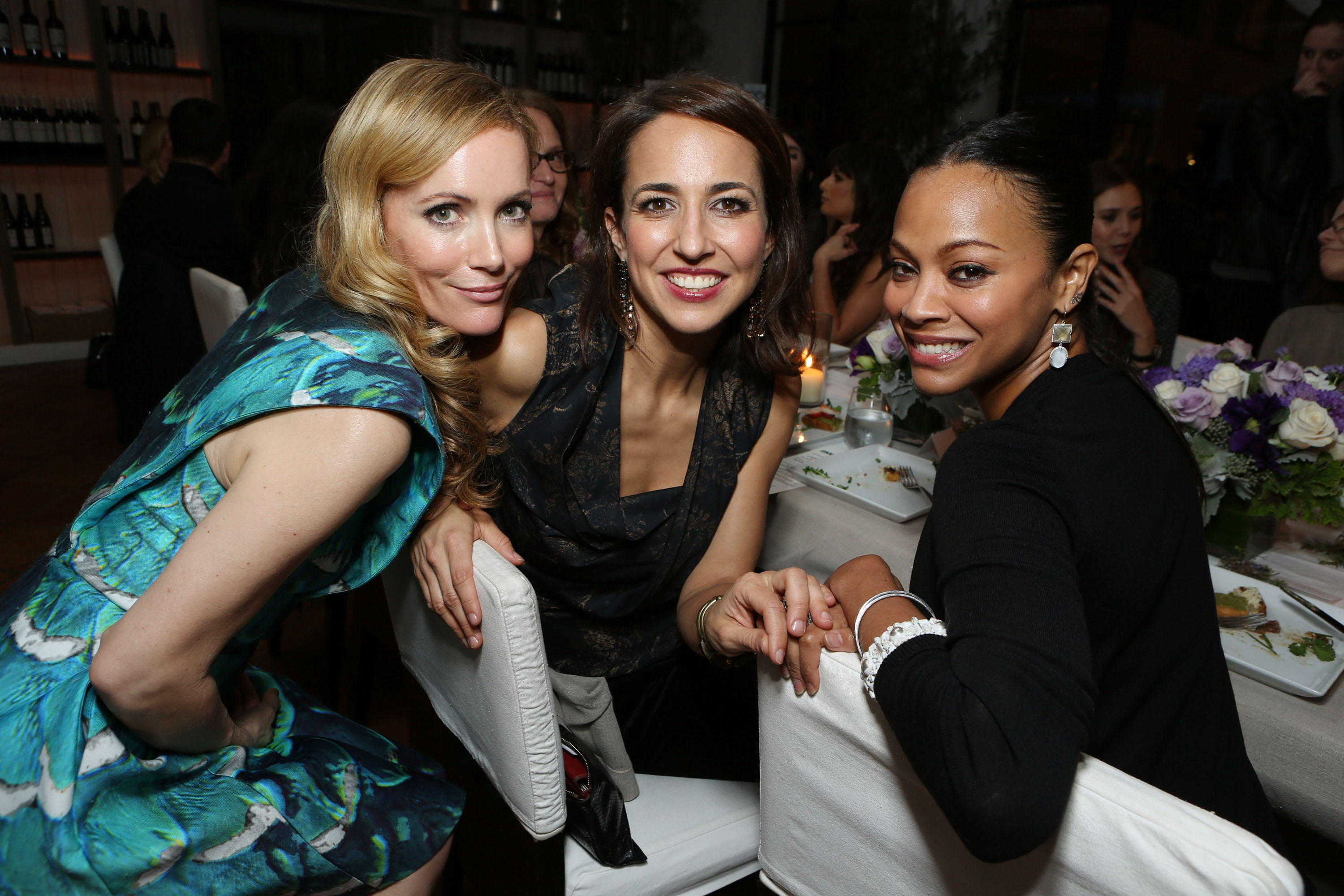 Leslie Mann, Anne Fulenwider, and Zoe Saldana attended the Marie Claire Hollywood Dinner in LA.