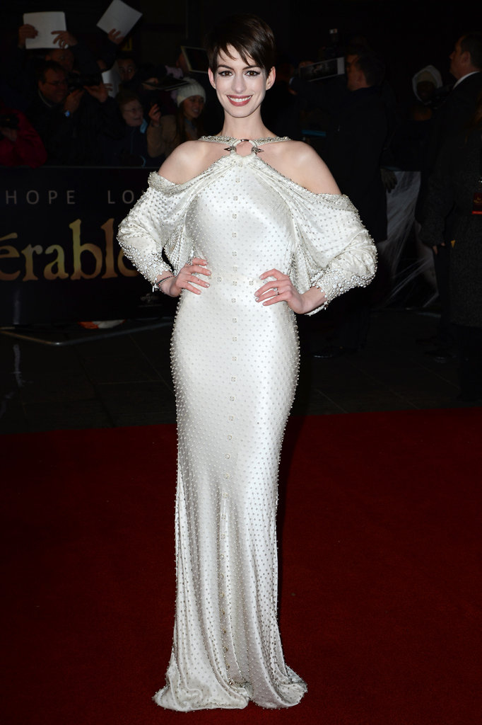 Anne Hathaway hit the red carpet wearing a gorgeous rhinestone embellished Givenchy Couture gown for the London premiere.