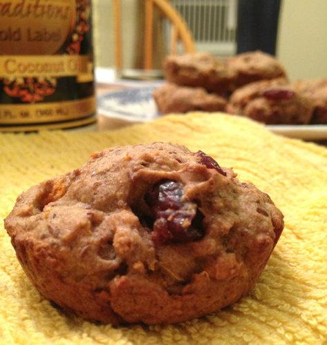 Whole Wheat Sweet Potato Cranberry Muffins