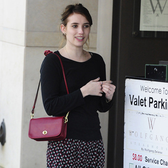 Emma Roberts Carrying Dark Red Bag