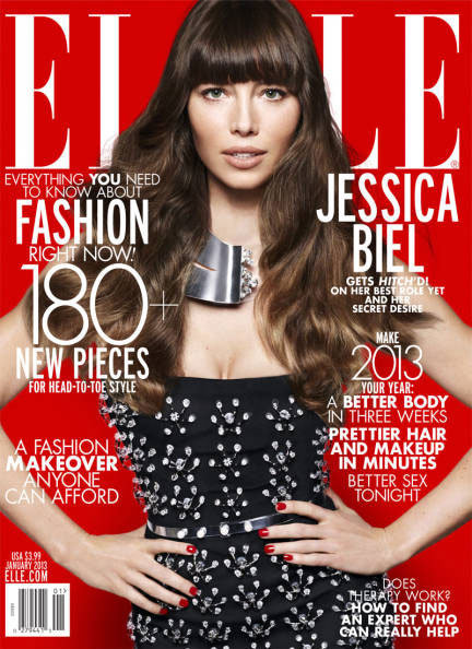 Jessica Biel covered the January 2013 issue of Elle.