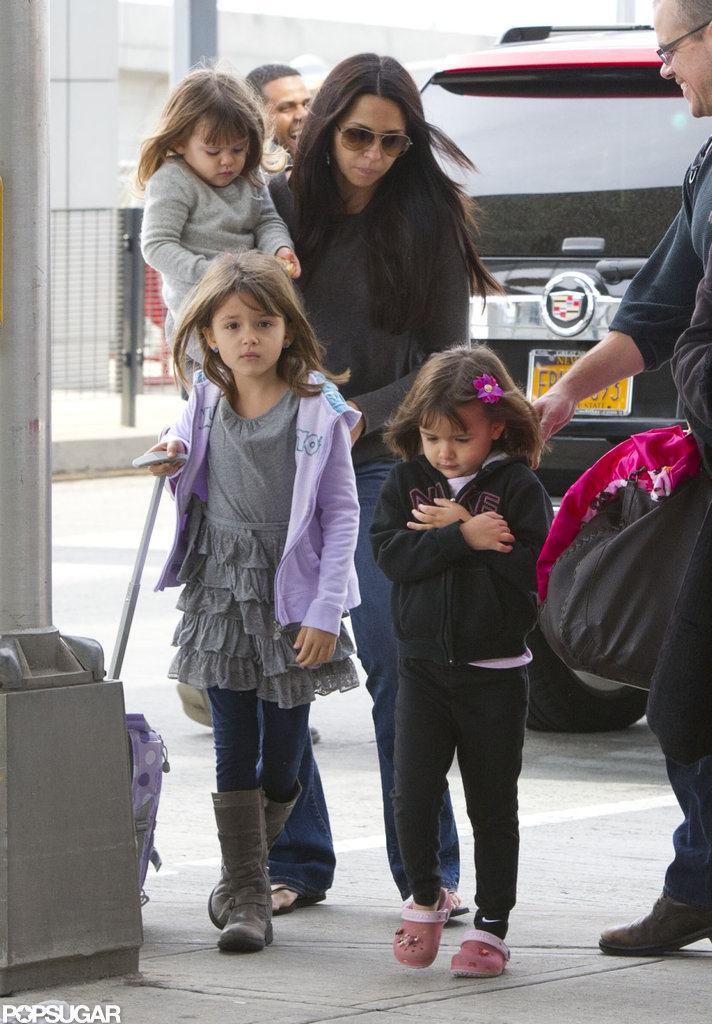 Matt Damon Heads Home With Luciana and Their Youngest Adorable Daughters