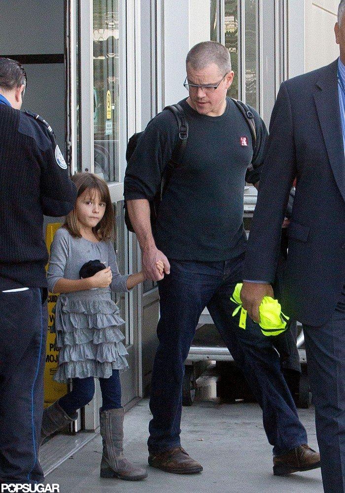 Matt Damon held hands with his daughter in LA.