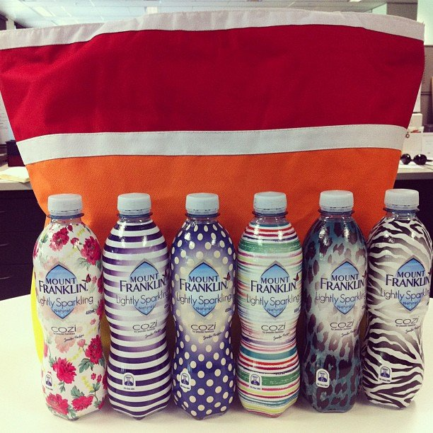When Jennifer Hawkins' label Cozi meets Mount Franklin, this happens. Sparkling mineral water bottles so cute we wanna collect!