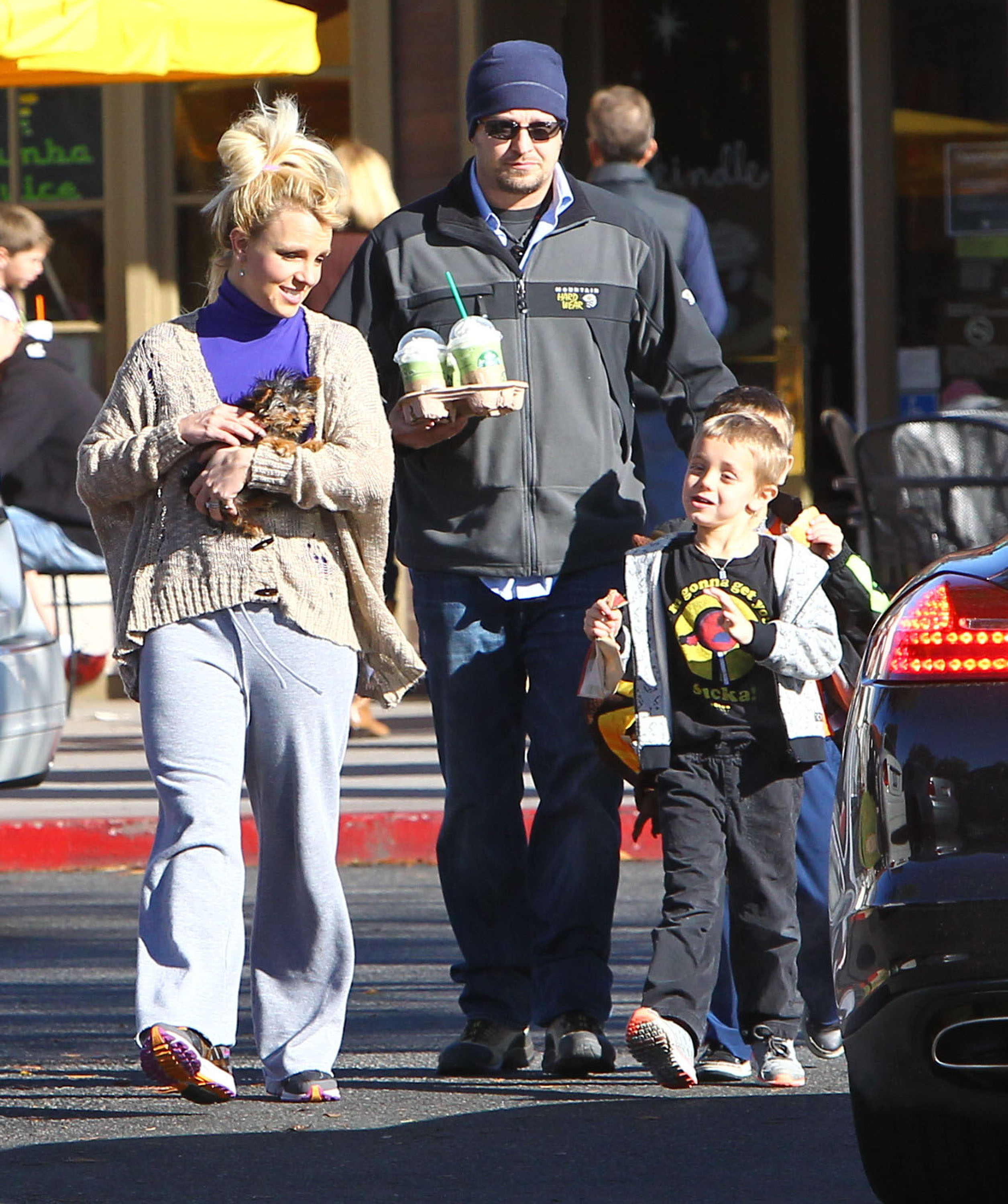 Britney Spears was joined by her sons on a Starbucks stop.