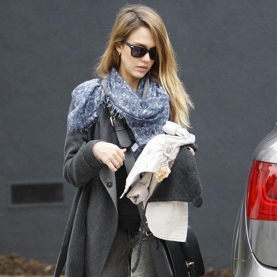 Jessica Alba Wearing Gray Wrap Coat