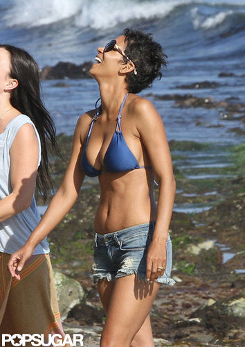 Halle Berry spent her birthday in a blue bikini on the beaches of Malibu in September 2012.