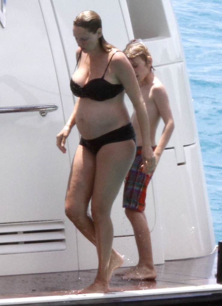 A pregnant Uma Thurman sported a black two-piece bikini during a trip to St. Barts back in March 2012.