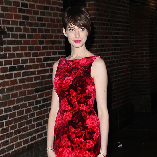 Anne Hathaway Wearing Red Floral Dress