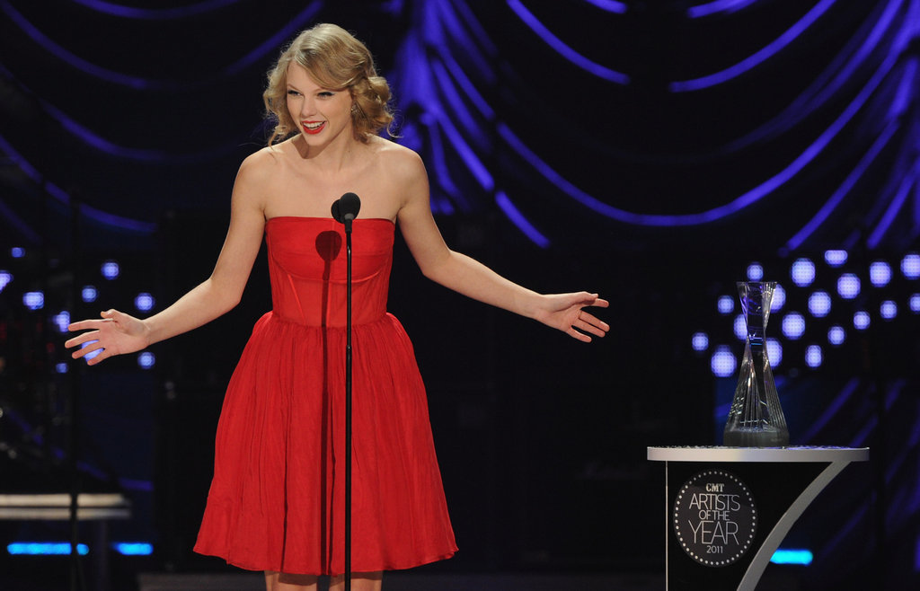Taylor Swift was honoured at the CMT Artists of the Year event in November 2011.