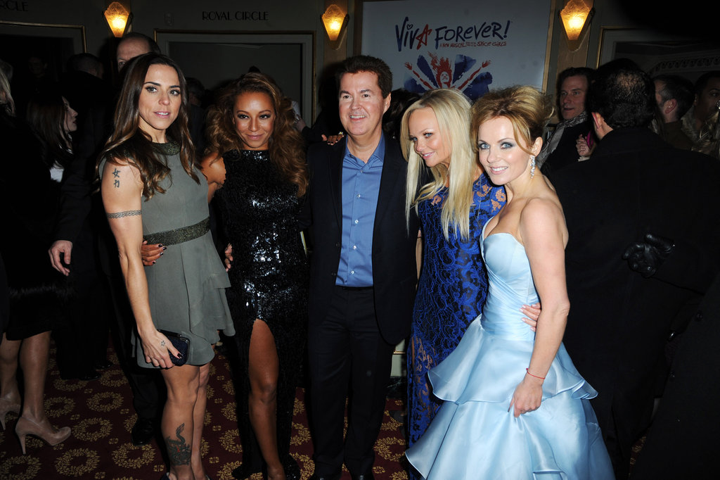 Melanie Chisholm, Melanie Brown, Emma Bunton, and Geri Halliwell linked up for the Viva Forever! press night at London's Piccadilly Theatre.