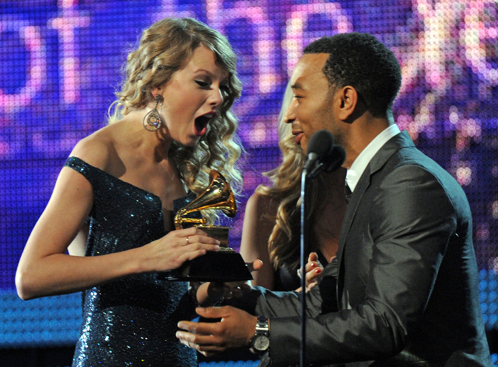 Taylor Swift was thrilled to be presented with the album of the year award by John Legend at the Grammys in January 2010.