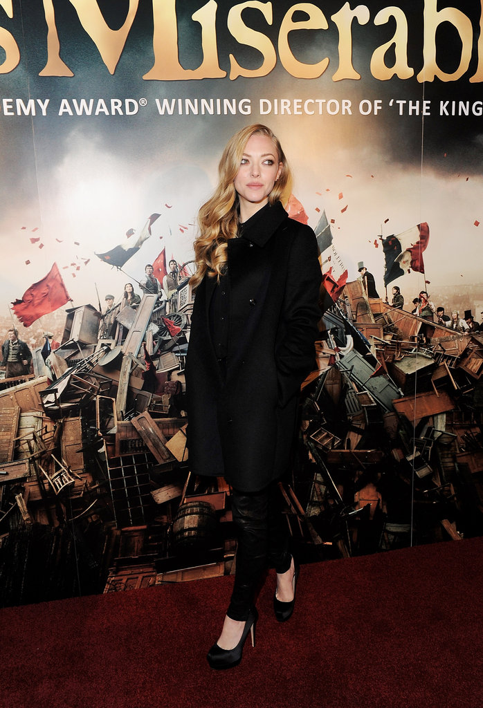 Amanda celebrated at the film's London after-party in a polished coat and trouser set, finished with classic black pumps.
