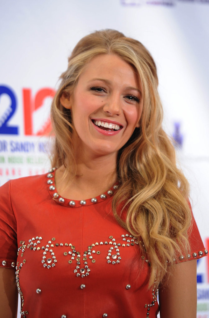 Blake Lively stepped out to support victims of Hurricane Sandy at the Robin Hood Relief Fund benefit concert in NYC.