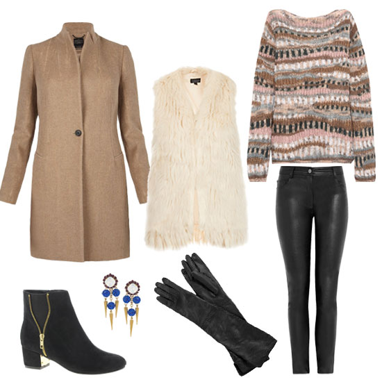 This is equal parts tough girl (look at all that leather!) and girlie-girl (a soft pink textured sweater is key), and it just so happens to hit all the right notes for a low-key cold-weather look. If you are a big fan of texture, here's an easy way to go full throttle: pair a wool-knit sweater with a fur gilt, leather pants, and a camel coat. Together these things make a combo bound to keep you really warm — and did we mention you'll look super cute too? Shop the look:   Vanessa Bruno Chunky-Knit Sweater ($306, originally $875)  Topshop Tassle Hem Faux Fur Gilet ($110)  Karl by Karl Lagerfeld Pacey Faux Leather Mid-Rise Skinny Pants ($100, originally $200)  AllSaints Nikol Coat ($550)  Max Studio Long Leather Gloves ($98)  Erickson Beamon Field of Dreams Swarovski Crystal Earrings ($240)  River Island Zip Side Ankle Boots ($70)