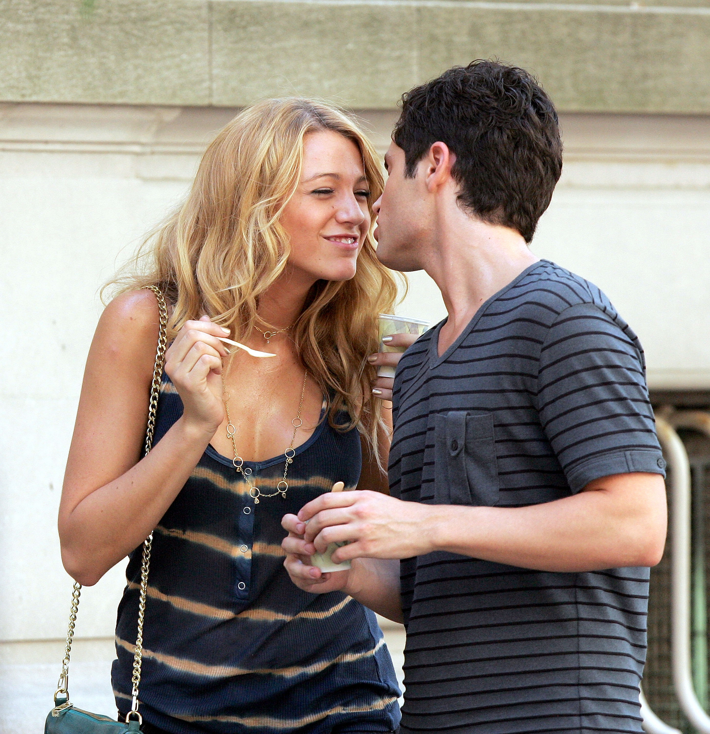 Blake Lively and Penn Badgley shared an on-camera kiss in July 2008.