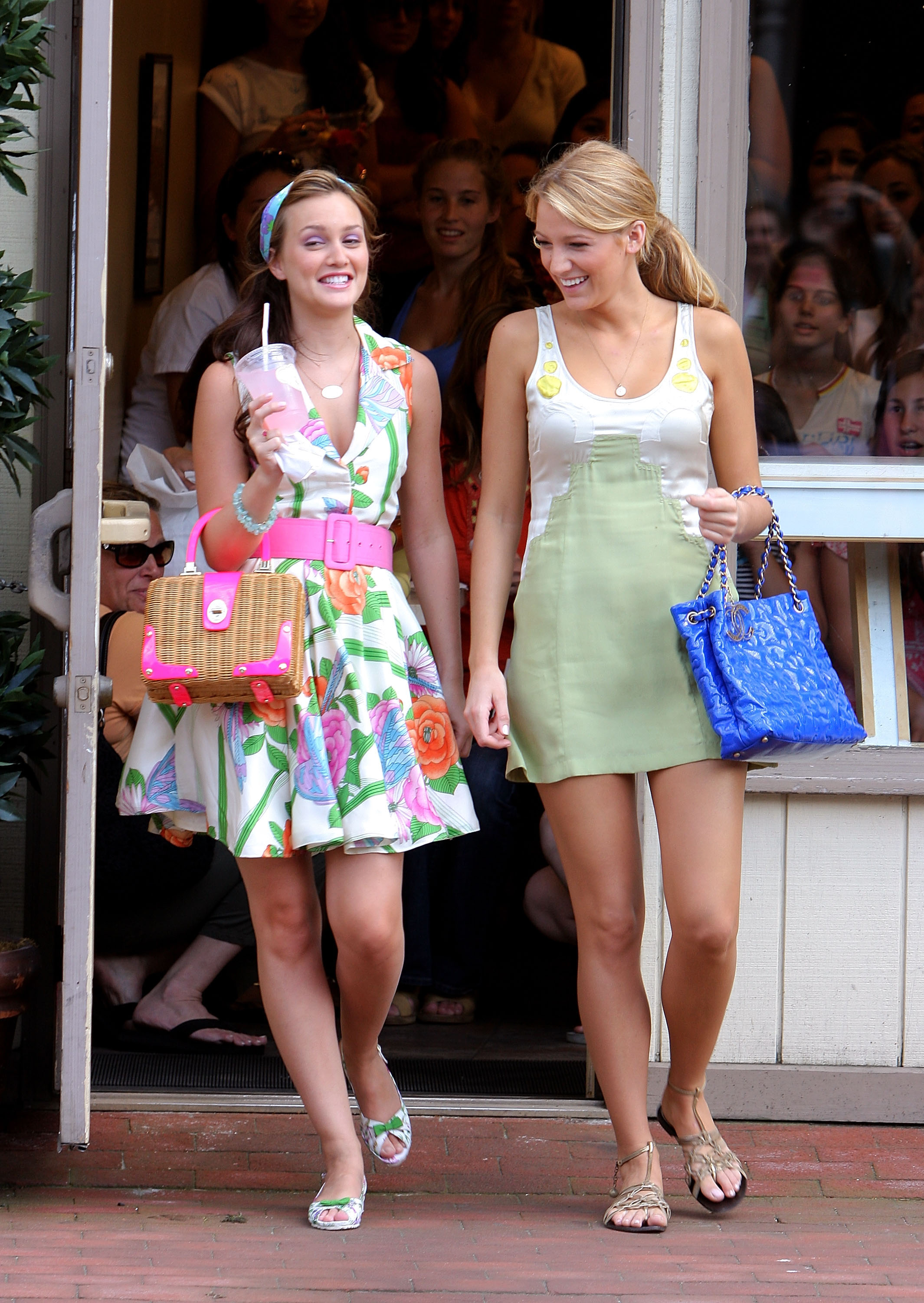 Sharing a laugh while cameras were rolling, Leighton Meester and Bl