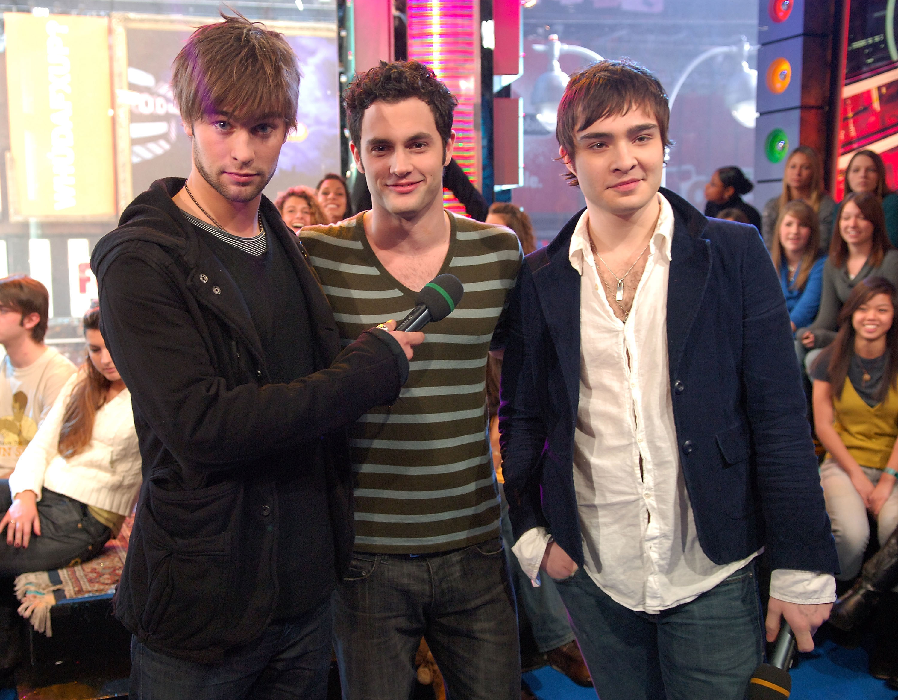 Chace Crawford, Penn Badgley, and Ed Westwick dropped by NYC's TRL studios in December 2007.