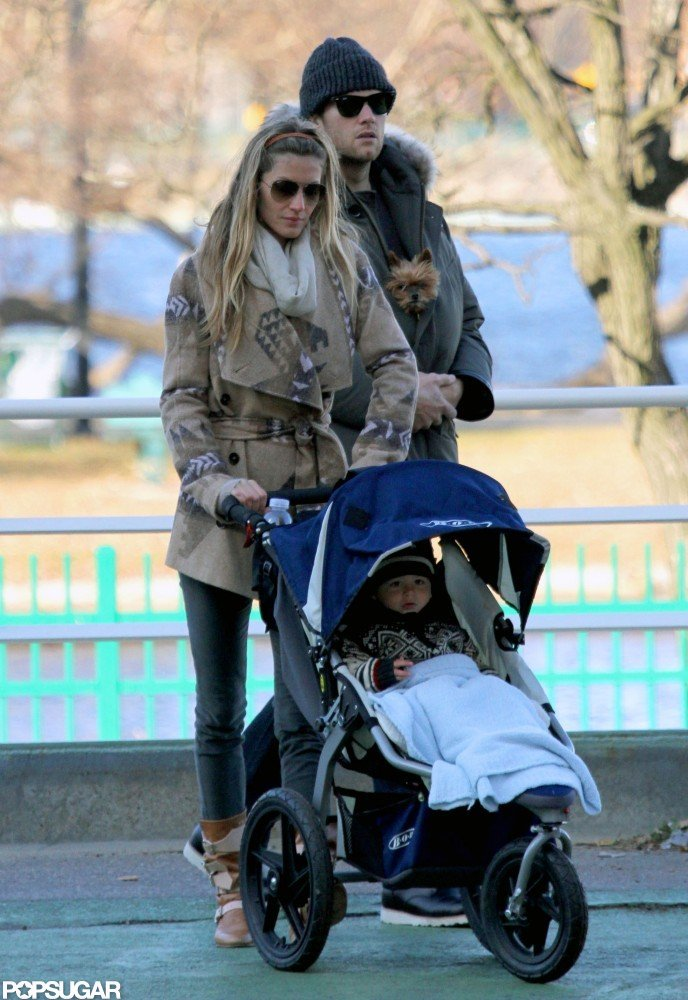 Gisele Bündchen pushed Benjamin Brady in his stroller with Tom Brady close by in January.