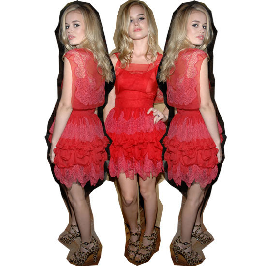 Georgia May Jagger in Red Lace Dress Copy Her Look