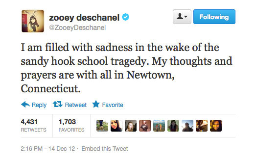 Zooey Deschanel took to Twitter to express her sorrow.