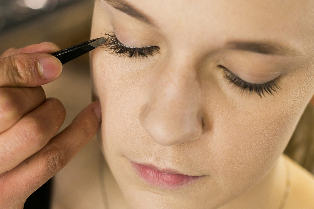 """""""Tweezers will help to really place the lash properly,"""" Jennings says. """"You get more precision with the tweezers as opposed to your fingers."""" Once you've placed the lashes, you can adjust them quickly while the glue is still a little tacky. Source: Caroline Voagen Nelson"""