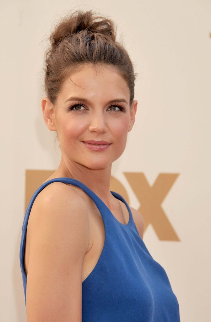 For her appearance at the 2011 Emmy Awards, Katie looked effortlessly chic, donning a tousled topknot and peachy makeup palette. Ultralong lashes lent a flirty appeal.