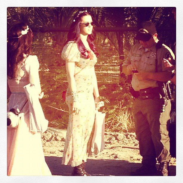 We spotted Katy Perry in flower-child garb as she headed out of a Coachella party.