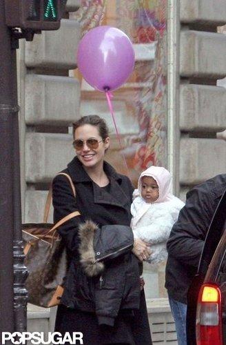 Zahara snuggled up to Angelina Jolie in Paris in February 2006.