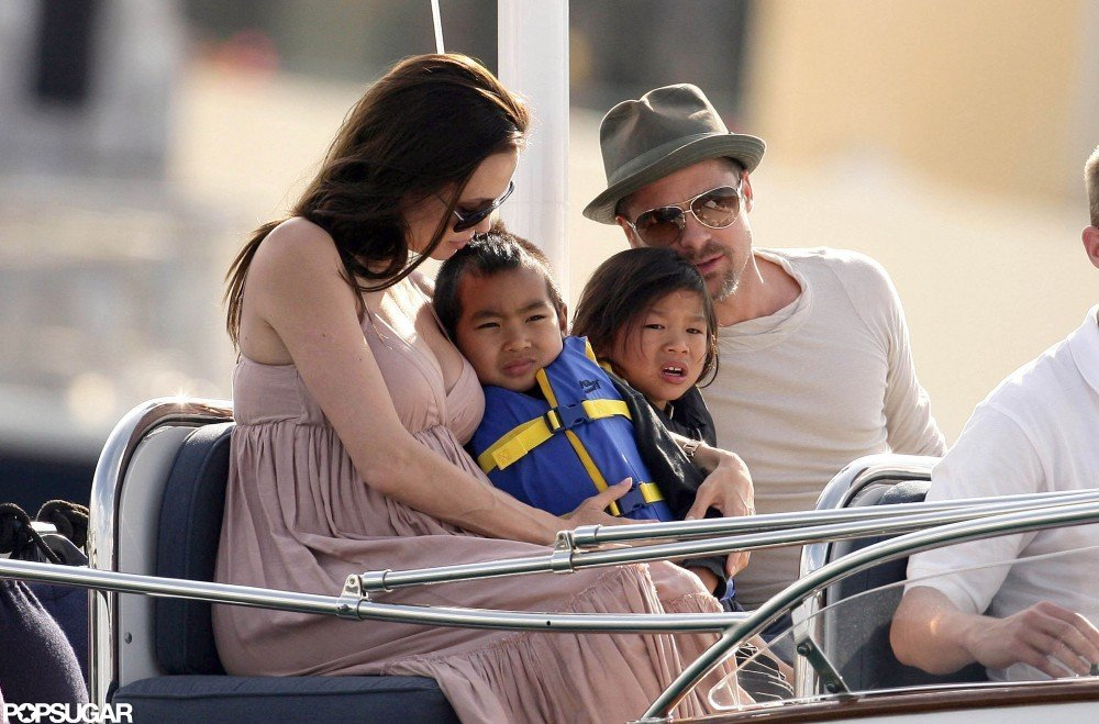 Brad Pitt and Angelina Jolie took a Southern France boat ride with Pax and Maddox in May 2008.