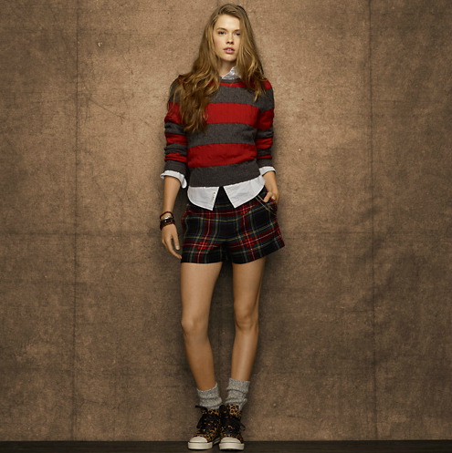 We love the idea of pairing Rugby's classic striped cabled crewneck ($70, originally $90) over a silky blouse, leather leggings, and oxfords for a classic yet cool take on casual styling.