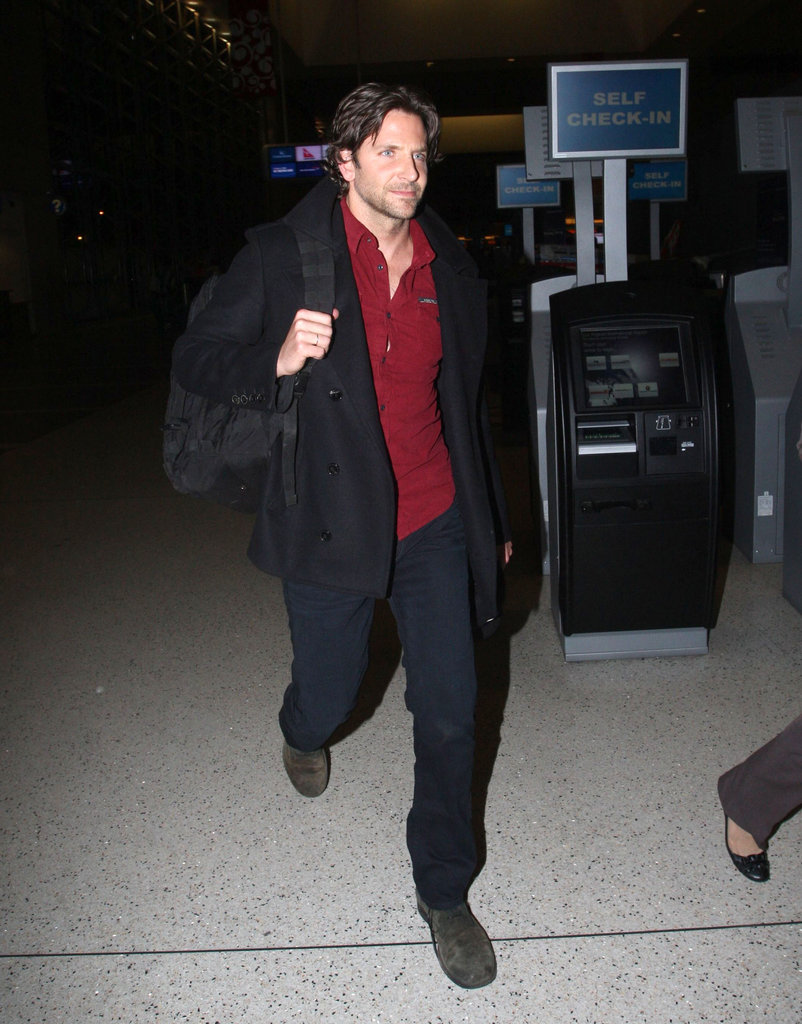 Bradley Cooper got on a flight leaving LAX.