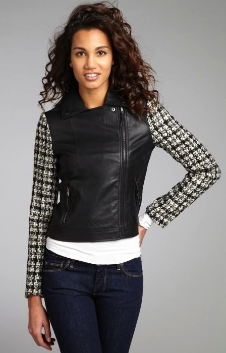 This Romeo & Juliet Couture tweed motorcycle jacket ($119) is such a find — the contrast between the tweed sleeves and faux-fur body is beyond fabulous.