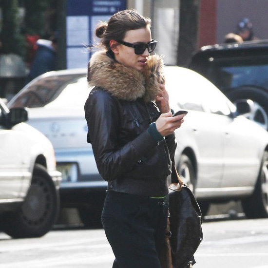 Irina Shayk Wearing Fur Leather Jacket