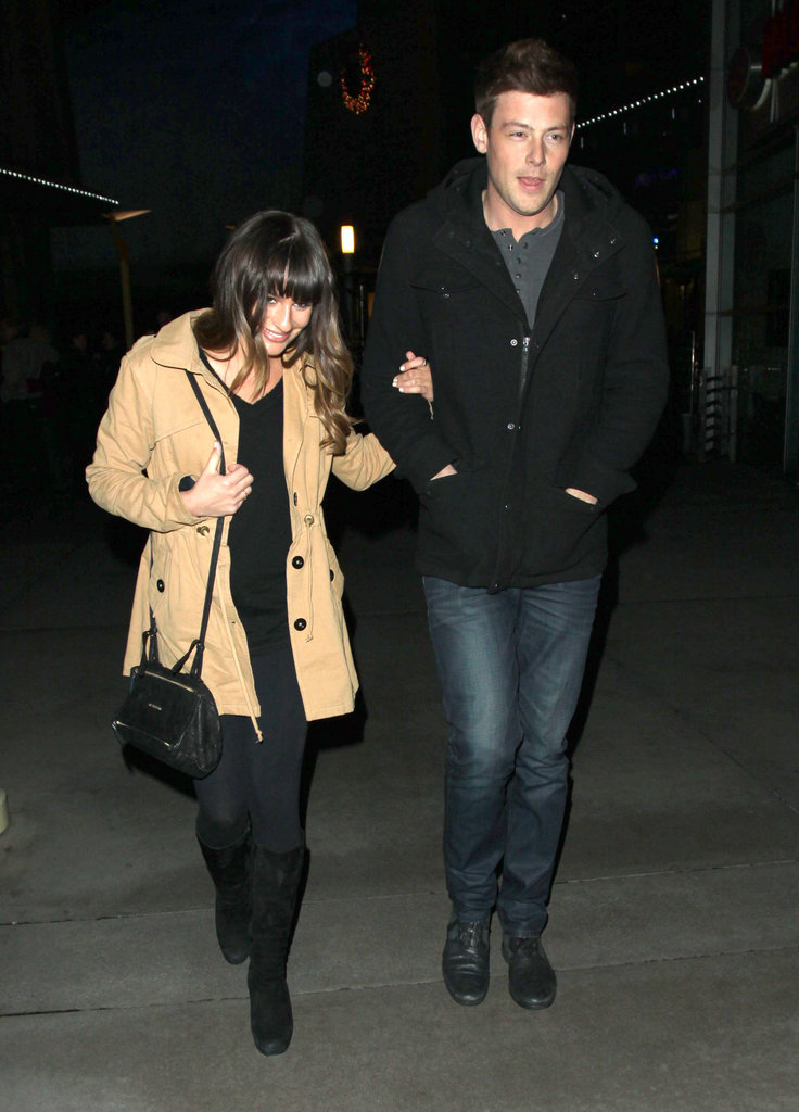 Lea Michele and Cory Monteith walked arm in arm.
