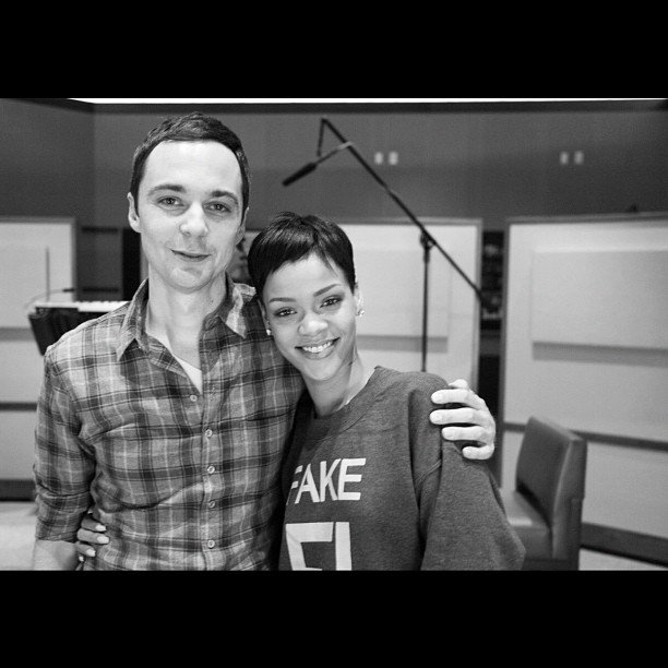 Rihanna worked with The Big Bang Theory's Jim Parsons in a recording studio. Source: Twitter user rihanna