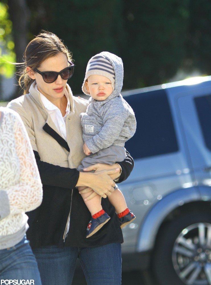 Samuel Affleck and Jennifer Garner headed out in LA's Brentwood neighborhood.