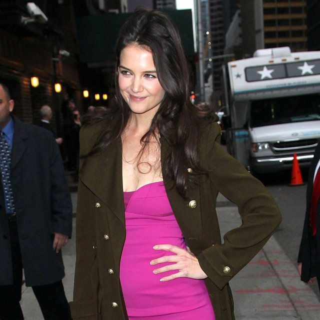 Katie Holmes In Hot Pink Dress For David Letterman