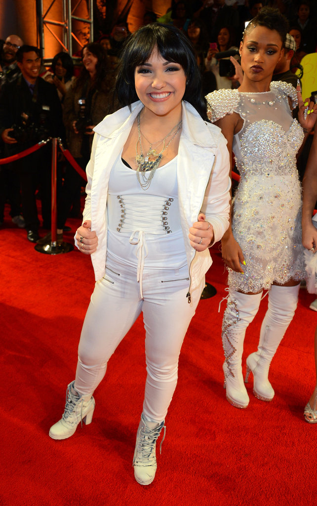 Janelle Garcia wore an all-white outfit.