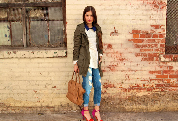 We love the layered look here, including her colorblock sandals and tan Céline Luggage Tote.  Source: Lookbook.nu