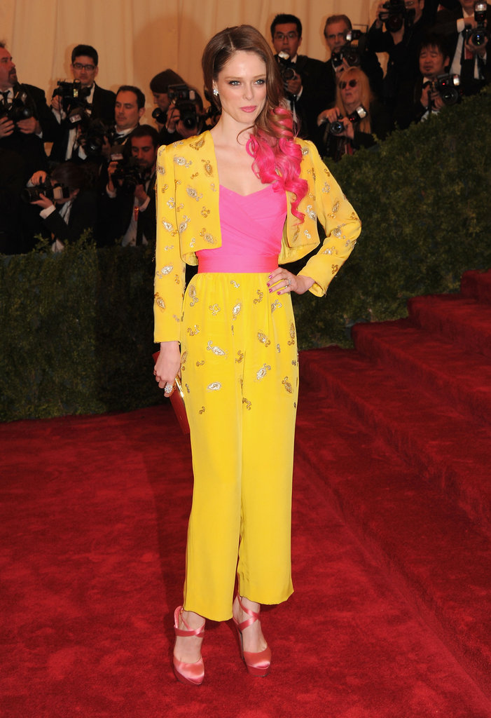 Coco Rocha went off the beaten path in this vintage Givenchy pantsuit at this year's Met Gala. Between the cropped wide-leg trouser and vibrant hues, you can't deny her this eye-catching number.