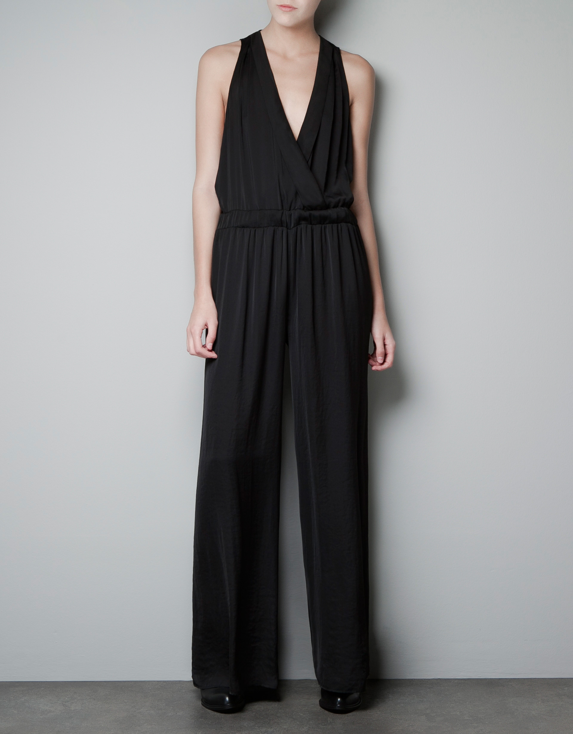 Model Zara Jumpsuit With Elastic Waist In Black  Lyst