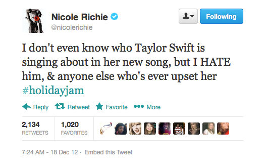 Don't worry, Nicole Richie, hell hath no fury like a Taylor Swift scorned...