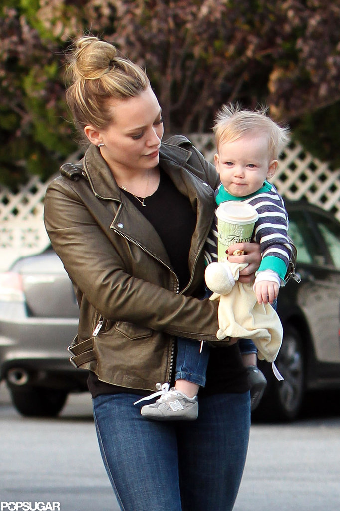Hilary Duff held tight to her baby boy, Luca Comrie.